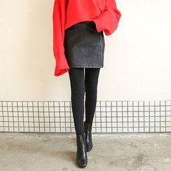 Seoul Fashion - Zip-Front Coated Mini Skirt