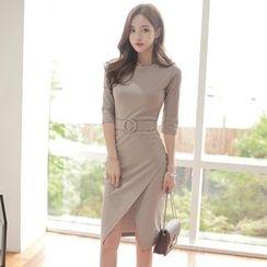 Clospace - Elbow-Sleeve Slit Front Sheath Dress