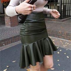 LIPHOP - Faux-Leather Ruffle-Hem Skirt