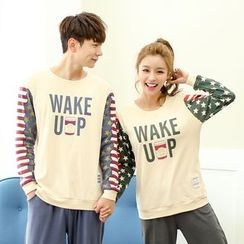 SHIRLEY - Couple Matching Pajama Set: Lettering Pullover + Pants