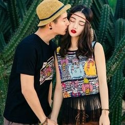 Ellib - Couple Matching Printed Short Sleeve T-Shirt / Fringe Hem Tank Top