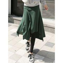 BBAEBBAE - Inset Asymmetric-Hem Long Skirt Leggings