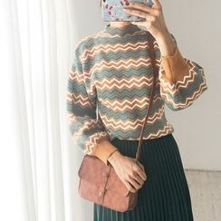 11.STREET - Lantern-Sleeve Chevron Mock Neck Sweater