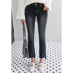 Miamasvin - Cutout-Hem Boot-Cut Jeans