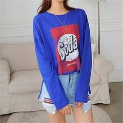 CHICFOX - Long-Sleeve Print-Front T-Shirt