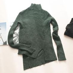 11.STREET - High Neck Asymmetric Knit Top