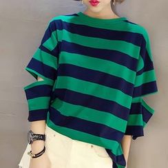 Everose - Elbow-Sleeve Striped Cropped Top