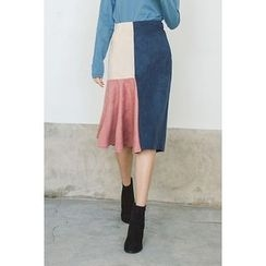 migunstyle - Band-Waist Color-Block Skirt