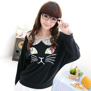59 Seconds - Crochet Collar Cat Print Top