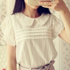 Cobblestone - Eyelet-Lace Pintuck Blouse