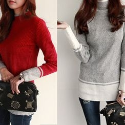 NIPONJJUYA - Mock-Neck Color-Block Rib-Knit Top