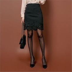 Styleberry - Lace-Hem Pencil Skirt