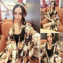氣質淑女 - 套裝:印花髮帶 + 無袖T恤連衣裙 + 印花披肩