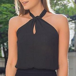 LIVA GIRL - Halter Chiffon Top