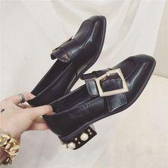 kokoin - Embellished Block Heel Buckle Loafers