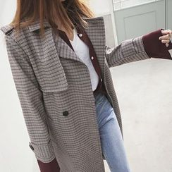 DABAGIRL - Plaid Long Trench Coat with Sash