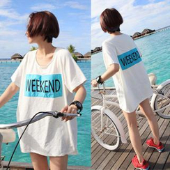 QZ Lady - 'WEEKEND' Print Short-Sleeved T-Shirt
