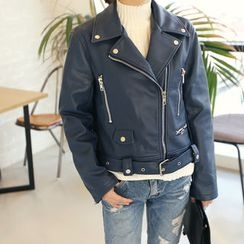 DANI LOVE - Faux-Leather Rider Jacket