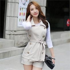 BRONCY - Set: Double-Breasted Trench Vest with Sash + Shorts