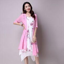 Diosa - Set: Elbow Sleeve Light Jacket + Floral Print Tank Dress