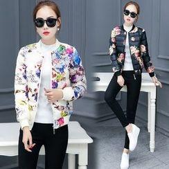 Angel Shine - Floral Print Padded Zip Jacket