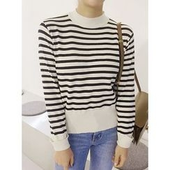 STYLEBYYAM - Mock-Neck Stripe Knit Top