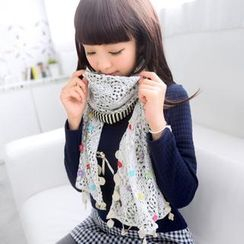 59 Seconds - Lace Panel Flower Accent Striped Scarf