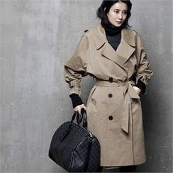 HALUMAYBE - Double-Breasted Trench Coat with Sash