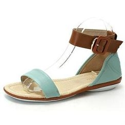 MODELSIS - Genuine Sheepskin Two-Tone Buckled Sandals