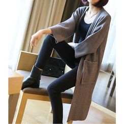 YIDIYU - 3/4 Sleeve Long Cardigan