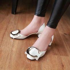 JY Shoes - Buckle Patent D'Orsay Pumps