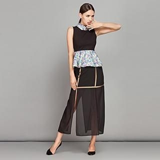 YiGelila - Contrast-Trim Slit-Side Maxi Skirt