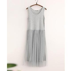 11.STREET - Mesh Panel Maxi Dress