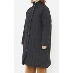 Someday, if - Dual-Pocket Snap-Button Quilted Coat
