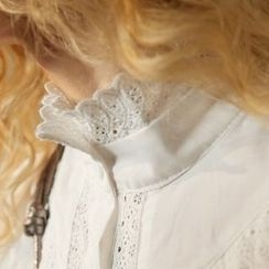 ELF SACK - Long-Sleeve Stand Collar Crochet Trim Blouse