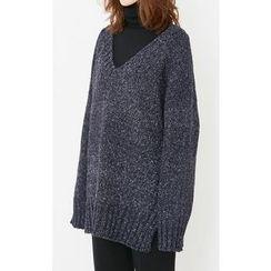 Someday, if - V-Neck Mélange Loose-Fit Knit Top