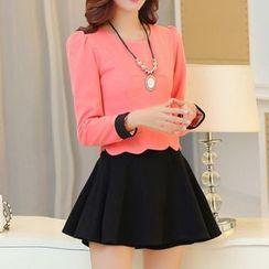 Ekim - Set: Scallop-Hem Long-Sleeve Top + Skirt