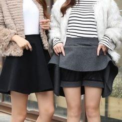 潞依韓 - 毛呢A字短裙
