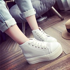 Hipsole - Perforated Platform High-Top Sneakers