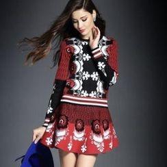 Raffaela - Set: Long-Sleeve Patterned Knit Top + Patterned A-Line Skirt