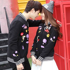 Igsoo - Couple Matching Print Baseball Jacket