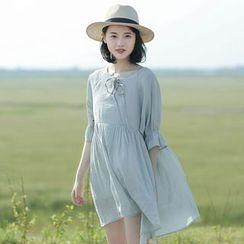 Mushi - Linen Elbow-Sleeve Babydoll A-Line Dress