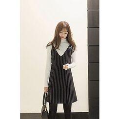 CHERRYKOKO - Stripe A-Line Jumper Dress