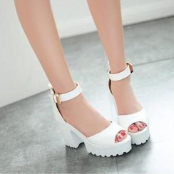 JY Shoes - Ankle Strap Platform Heeled Sandals