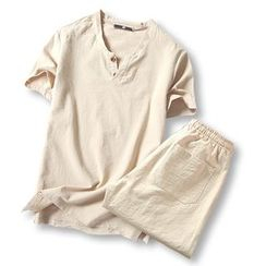 ZZP HOMME - Set: Linen Short-Sleeve Top + Shorts