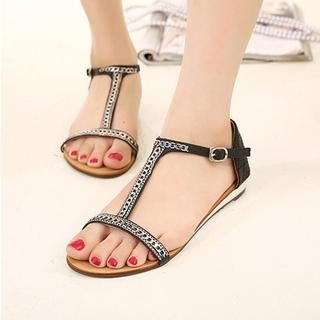 X Times - Chain-Accent T-Strap Sandals