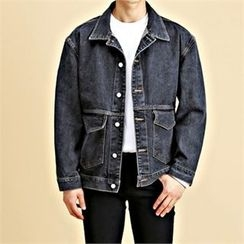 THE COVER - Dual-Pocket Washed Denim Jacket