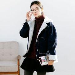Forest Girl - Lettering Applique Corduroy Hooded Jacket