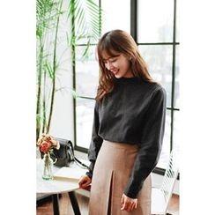 CHERRYKOKO - Mandarin-Collar Button-Back Blouse