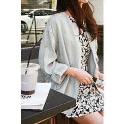 CHERRYKOKO - Tab-Sleeve Linen Blend Zip Jacket